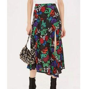 TopShop Raven Multicolor Floral Midi Skirt Sz 6